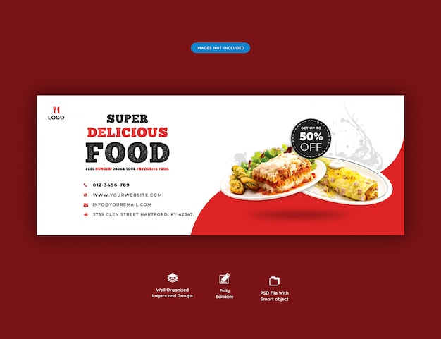 Menú de comida y restaurante plantilla de banner de portada de facebook
