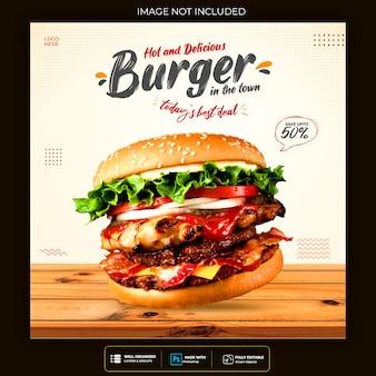 Menú de comida y restaurante plantilla de banner de redes sociales premium psd