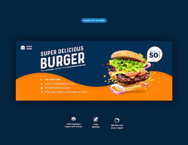 Menú de comida y restaurante plantilla de portada de facebook psd premium