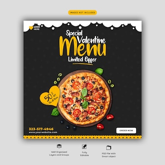 Menú de comida de san valentín y plantilla de banner de redes sociales de deliciosa pizza