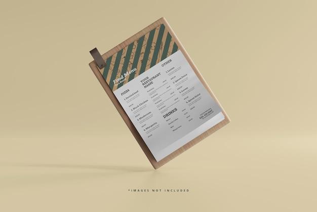 Menú de comida de tamaño a4 en una maqueta de tabla de madera