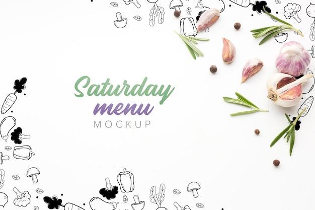 Menú culinario del sábado con maqueta de ajo