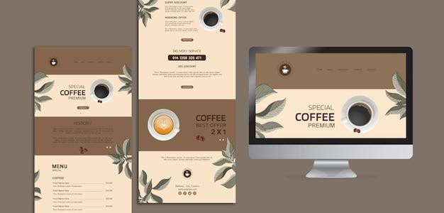 Menu del caffè con computer