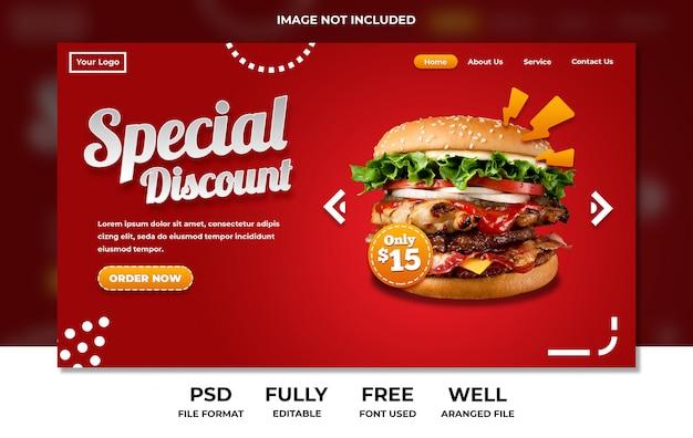 Menu del ristorante fast food su rosso