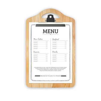 Menu del ristorante mock up