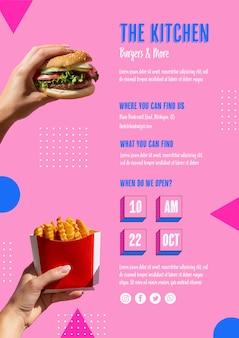 Menu della cucina con hamburger e patatine fritte