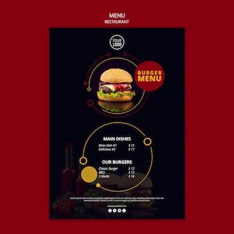 Menu design per ristorante