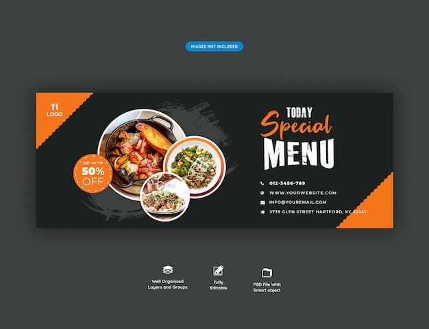 Menu di cibo e ristorante modello di banner copertina di facebook