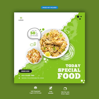 Menu di cibo e ristorante modello di banner di social media