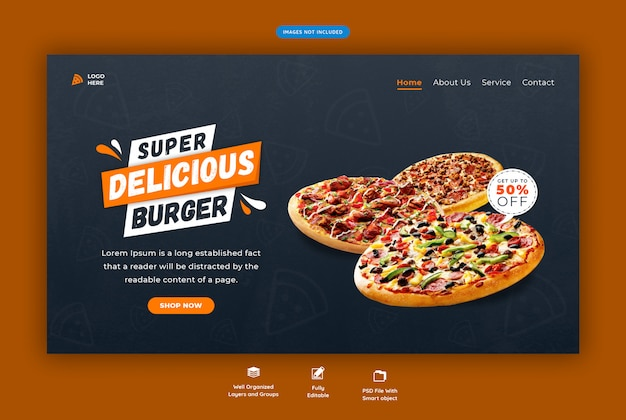 Menu di fast food o pagina di destinazione orizzontale web pizza