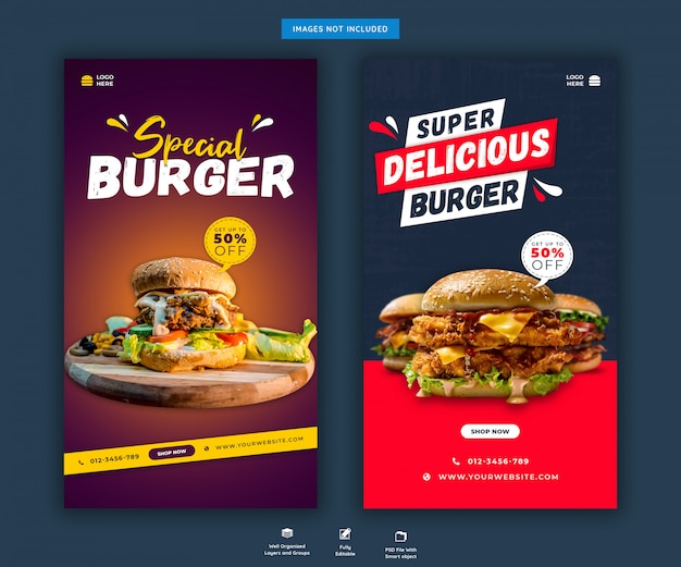 Menu di hamburger o fast food social media o modello di storie di instagram