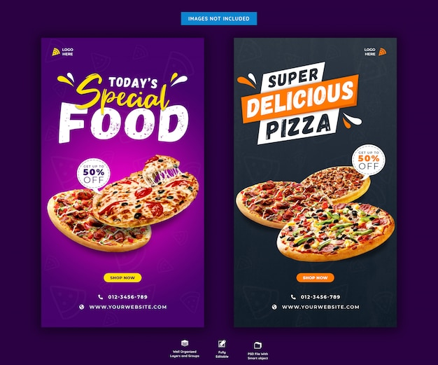 Menu di pizza o fast food social media o modello di storie di instagram