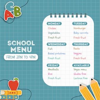 Menú escolar hecho para niños.