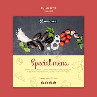 Menú especial del restaurante flyer cuadrado