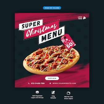Menu fast food di natale social media modello di post di instagram premium psd
