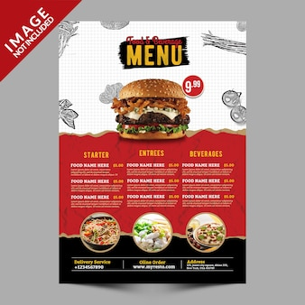 Menu food & beverage