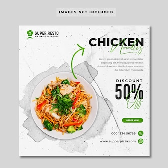 Menu food promozione social media post