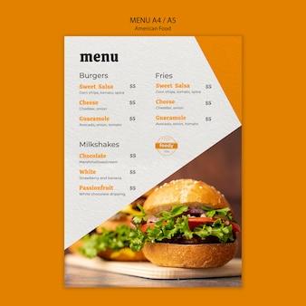 Menú de hamburguesas con queso y verduras saludables