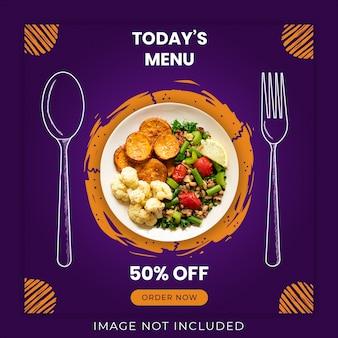 Menú de hoy plantilla de banner de redes sociales de alimentos