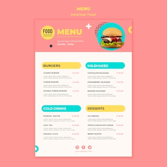 Menu per cibo americano con hamburger