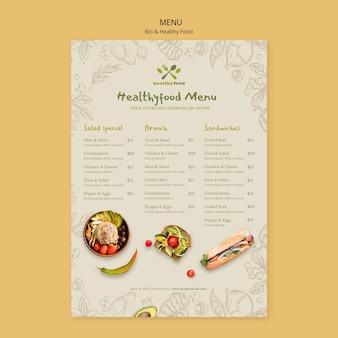 Menú de plantilla de alimentos saludables y bio