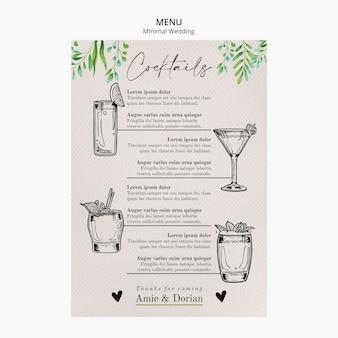 Menú de plantilla de boda mínima