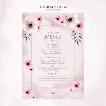 Menú de póster de boda mínimo