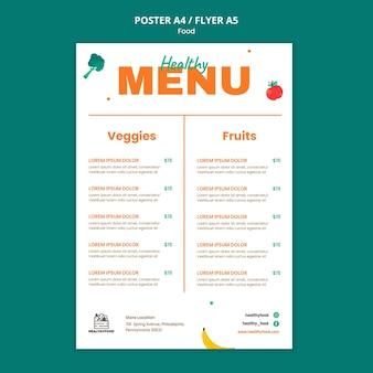 Menú de restaurante de comida sana