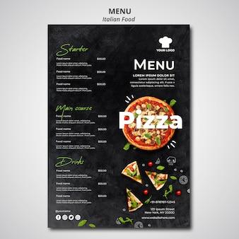 Menú para restaurante de comida tradicional italiana.