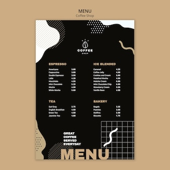 Menu sjabloon concept voor coffeeshop