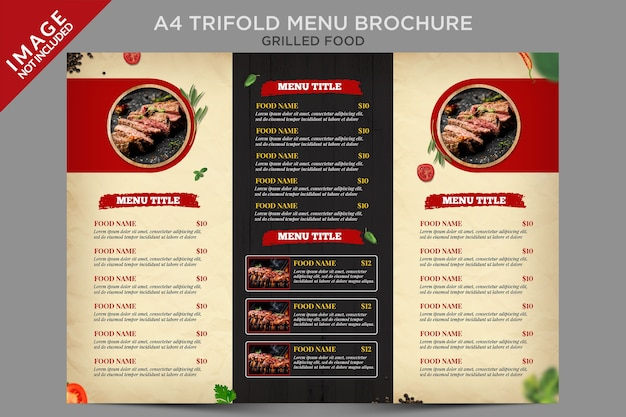 Menú tríptico a4 de alimentos a la parrilla serie de folletos