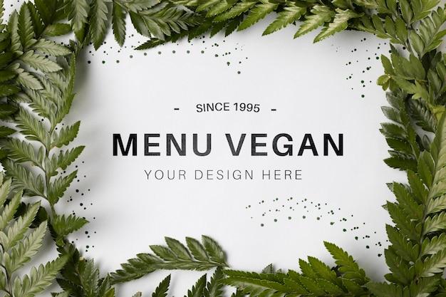 Menu vegano di vista dall'alto concetto con mock-up