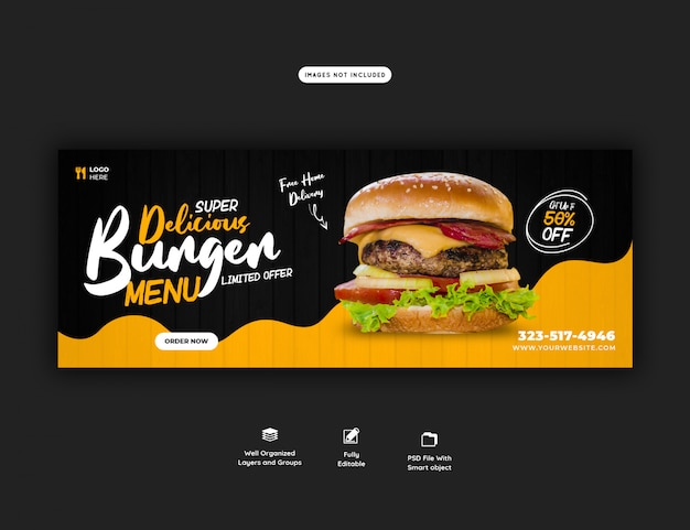 Menú de venta de alimentos para plantilla de banner web