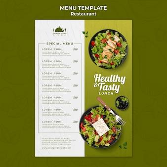 Menusjabloon voor gezond eten restaurant