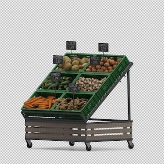 Mercado isométrico de verduras de mercado de procesamiento 3d