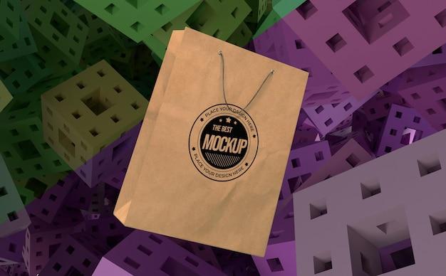 Mercancía de bolsa de papel de maqueta abstracta