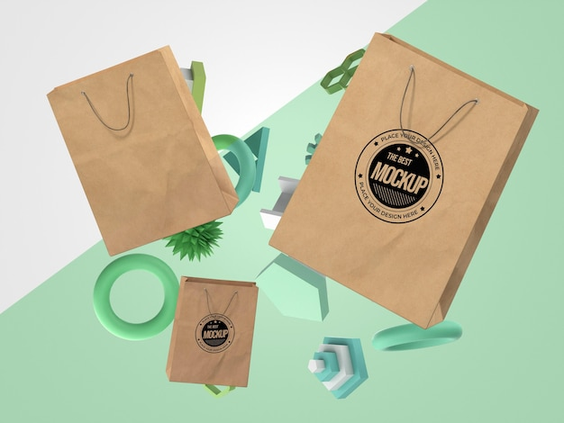 Mercancía de maqueta abstracta con bolsas de compras
