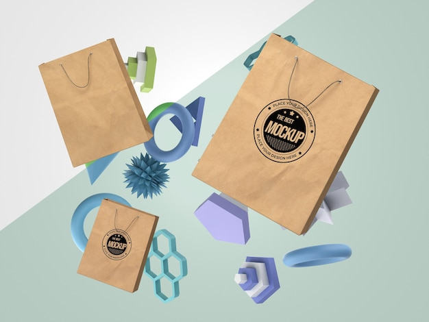 Mercancía de maqueta abstracta con bolsas de papel