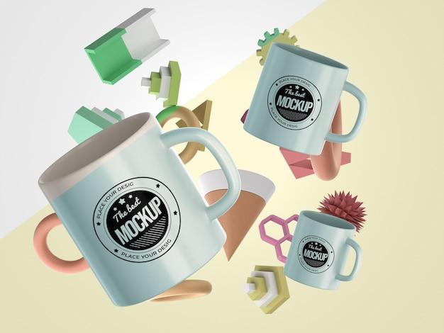 Mercancía de maqueta abstracta con tazas