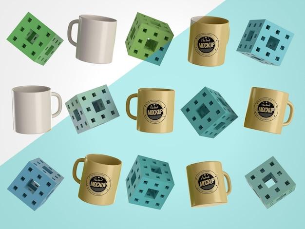 Mercancía de tazas de maqueta abstracta con cubos