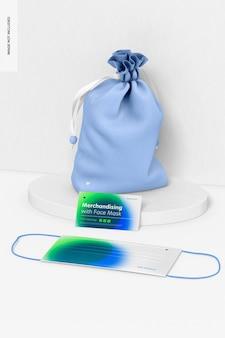 Merchandising met gezichtsmaskermodel, op het oppervlak