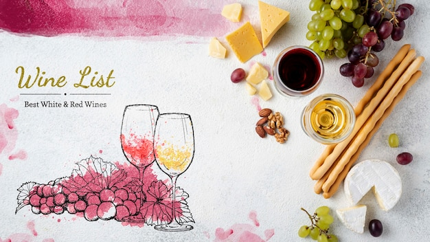 Merienda y copa de vino