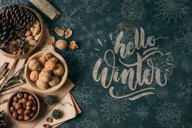 Merienda de invierno con hola saludo de invierno