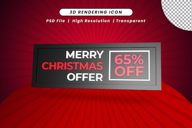 Merry christmas-aanbieding 65 procent korting op 3d-renderingpictogram
