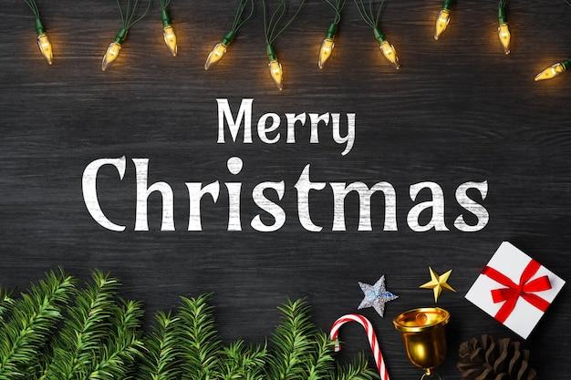 Merry christmas-achtergrondmodel met decoratie