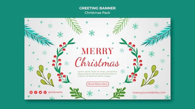 Merry christmas banner met decoratie