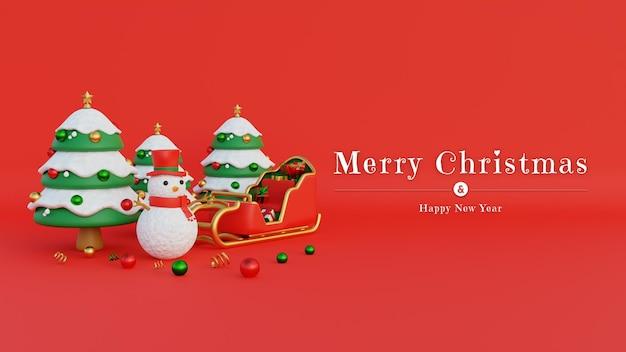 Merry christmas banner met sneeuwpop hoge hoed en kerstman koets gevuld met geschenken
