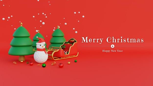 Merry christmas banner met sneeuwpop kerstmuts en kerstman koets gevuld met geschenken en sneeuwval op bomen