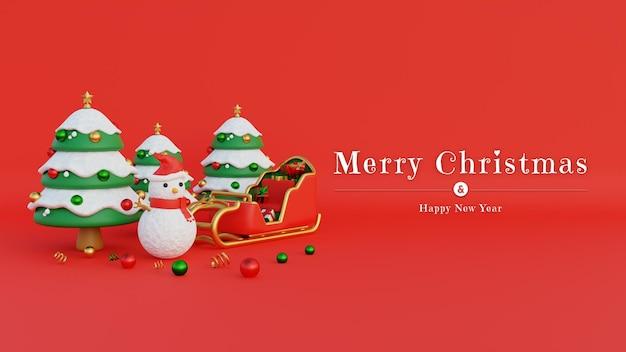 Merry christmas banner met sneeuwpop kerstmuts en kerstman koets gevuld met geschenken