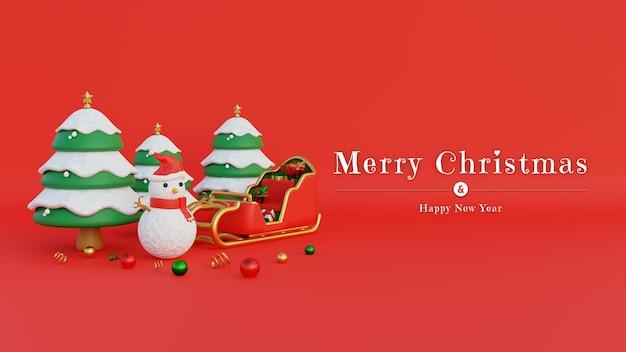 Merry christmas banner met sneeuwpop kerstmuts en kerstmankoets gevuld met geschenken en besneeuwde bomen